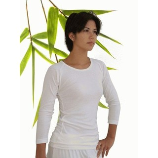 Womens Bamboo 3/4 Sleeve Top - X-Large Natural