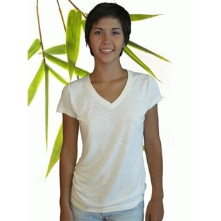 Womens Bamboo Hemp V Neck Tshirt - X-Large Natural