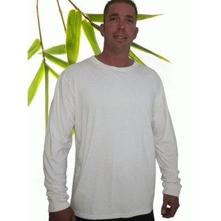 Mens Bamboo Long Sleeve T-Shirt Larger Size - XXXLarge Natural