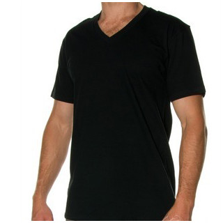 Mens Bamboo SS V neck T - Small Black