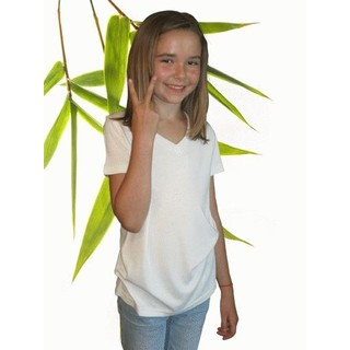 Girls Bamboo & Organic Cotton V-Neck T Shirt - XL-11/12 Natural
