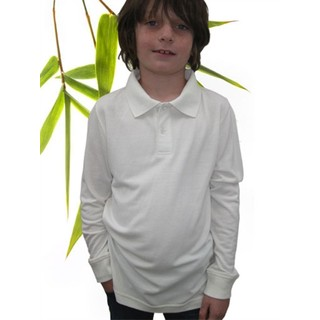 Boys Bamboo Long Sleeve Polo - XL-11/12 Natural