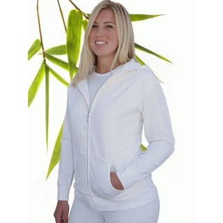 Womens Bamboo Fleece Zipper Hoody - Large Natural