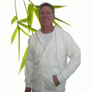 Mens Bamboo Fleece Zipper Hoody - Large Natural