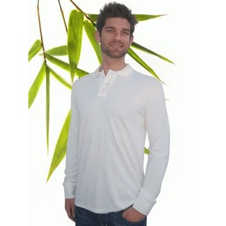 Mens Bamboo Long Sleeve Polo Shirt - Med Natural