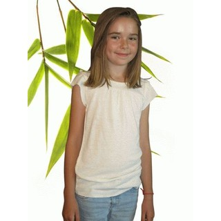 Girls Ruffle Bamboo & Hemp T Shirt - XL 11/12 Natural
